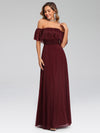 Women'S Off Shoulder Glitter Dress Evening Maxi Dresses Ep00724-Burgundy 4