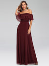 Women'S Off Shoulder Glitter Dress Evening Maxi Dresses Ep00724-Burgundy 5