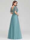 Romantic Deep V-Neck Ruffle Sleeves Embroidery Tulle Bridesmaid Dresses Ep00727-Dusty Blue 2