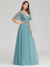 Romantic Deep V-Neck Ruffle Sleeves Embroidery Tulle Bridesmaid Dresses Ep00727-Dusty Blue 3