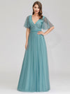 Romantic Deep V-Neck Ruffle Sleeves Embroidery Tulle Bridesmaid Dresses Ep00727-Dusty Blue 4