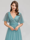 Romantic Deep V-Neck Ruffle Sleeves Embroidery Tulle Bridesmaid Dresses Ep00727-Dusty Blue 5