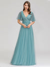 Romantic Deep V-Neck Ruffle Sleeves Embroidery Tulle Bridesmaid Dresses Ep00727-Dusty Blue 1