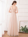 Maxi A-Line Cross V-Neck Tulle Bridesmaid Dress With Sequin Stripes-Blush 2