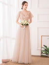Maxi A-Line Cross V-Neck Tulle Bridesmaid Dress With Sequin Stripes-Blush 4
