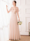 Maxi A-Line Cross V-Neck Tulle Bridesmaid Dress With Sequin Stripes-Blush 1