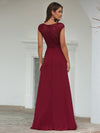 Women'S Cap Sleeve Wholesale Long Lace Bridesmaid Dresses-Burgundy 2