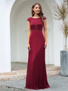 Women'S Cap Sleeve Wholesale Long Lace Bridesmaid Dresses-Burgundy 4