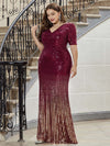 Women's Fashion V Neck Plus Size Mermaid Sequin Evening Dress-Burgundy 3
