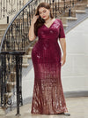 Sexy Sequin Deep V Neckline Fishtail Evening Dreeses-Burgundy 9