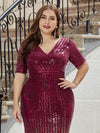 Women's Fashion V Neck Plus Size Mermaid Sequin Evening Dress-Burgundy 5
