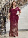 Women's Fashion V Neck Plus Size Mermaid Sequin Evening Dress-Burgundy 1