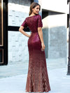 Sexy Sequin Deep V Neckline Fishtail Evening Dreeses Ep00752-Burgundy 2