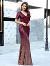 Sexy Sequin Deep V Neckline Fishtail Evening Dreeses Ep00752-Burgundy 3