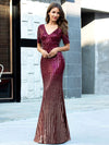 Sexy Sequin Deep V Neckline Fishtail Evening Dreeses Ep00752-Burgundy 4