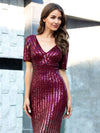 Sexy Sequin Deep V Neckline Fishtail Evening Dreeses Ep00752-Burgundy 5