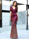 Sexy Sequin Deep V Neckline Fishtail Evening Dreeses Ep00752-Burgundy 1