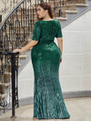 Sexy Sequin Deep V Neckline Fishtail Evening Dreeses-Dark Green 2