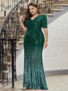 Sexy Sequin Deep V Neckline Fishtail Evening Dreeses-Dark Green 3