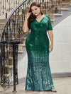Sexy Sequin Deep V Neckline Fishtail Evening Dreeses-Dark Green 4