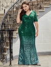 Women's Fashion V Neck Plus Size Mermaid Sequin Evening Dress-Dark Green 4