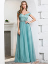 Women'S A-Line Off Shoulder Evening Party Bridesmaid Dress-Dusty Blue 1