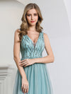 Deep V Neck A-Line Sleeveless Tulle Bridesmaid Dress With Irregular Sequin Ep00774-Dusty Blue 5