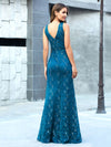 Elegant Doublue V Neck Fishtail Lace Formal Evening Dressses Ep00778-Teal 2