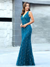 Elegant Doublue V Neck Fishtail Lace Formal Evening Dressses Ep00778-Teal 3