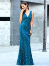 Elegant Doublue V Neck Fishtail Lace Formal Evening Dressses Ep00778-Teal 4