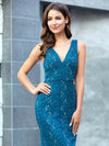 Elegant Doublue V Neck Fishtail Lace Formal Evening Dressses Ep00778-Teal 5