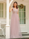 Women'S A-Line Floral Appliques Wedding Party Bridesmaid Dress Ep00787-Pink 1