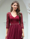 Women'S V-Neck 3/4 Sleeve Lace Wedding Dress-Burgundy 5