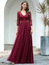 Women'S V-Neck 3/4 Sleeve Lace Wedding Dress-Burgundy 1