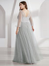 Women'S V-Neck 3/4 Sleeve Lace Wedding Dress-Grey 7