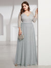 Women'S V-Neck 3/4 Sleeve Lace Wedding Dress-Grey 9
