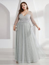 Women'S V-Neck 3/4 Sleeve Lace Wedding Dress-Grey 6