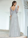 Women'S V-Neck 3/4 Sleeve Lace Wedding Dress-Grey 2