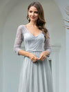 Women'S V-Neck 3/4 Sleeve Lace Wedding Dress-Grey 5