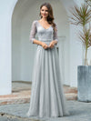 Women'S V-Neck 3/4 Sleeve Lace Wedding Dress-Grey 1