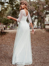 Women'S V-Neck 3/4 Sleeve Lace Wedding Dress-White 5