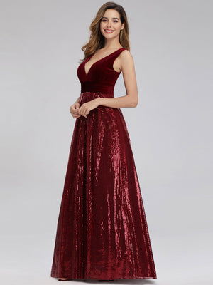 Ever-Pretty Double V Neck Sparkle Prom Dresses EP00808
