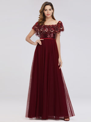 Ever-Pretty Off the Shoulder Evening Dresses with Sequin EP00819