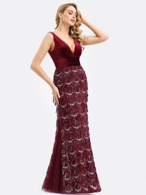 Ever-Pretty Bodycon Fishtail Prom Dresses with Tassels EP00820 (3941681627197)