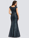 Women'S V-Neck Cap Sleeve Sequin Dress Mermaid Dress Ep00832-Navy Blue 2