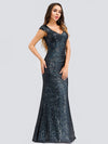 Women'S V-Neck Cap Sleeve Sequin Dress Mermaid Dress Ep00832-Navy Blue 3