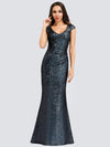 Women'S V-Neck Cap Sleeve Sequin Dress Mermaid Dress Ep00832-Navy Blue 4