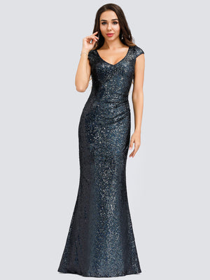 Ever-Pretty Women's V-Neck Cap Sleeve Sequin Dress Mermaid Dress EP00832