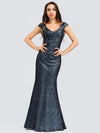 Women'S V-Neck Cap Sleeve Sequin Dress Mermaid Dress Ep00832-Navy Blue 1
