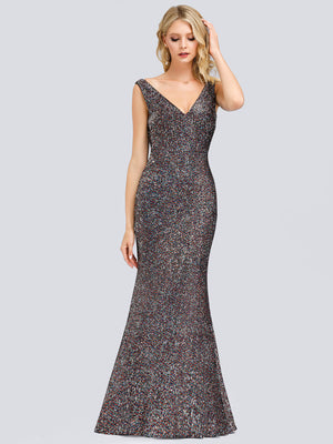 Ever-Pretty V-Neck Sleeveless Bodycon Shiny Sequin Dresses EP00837 (3945501294653)